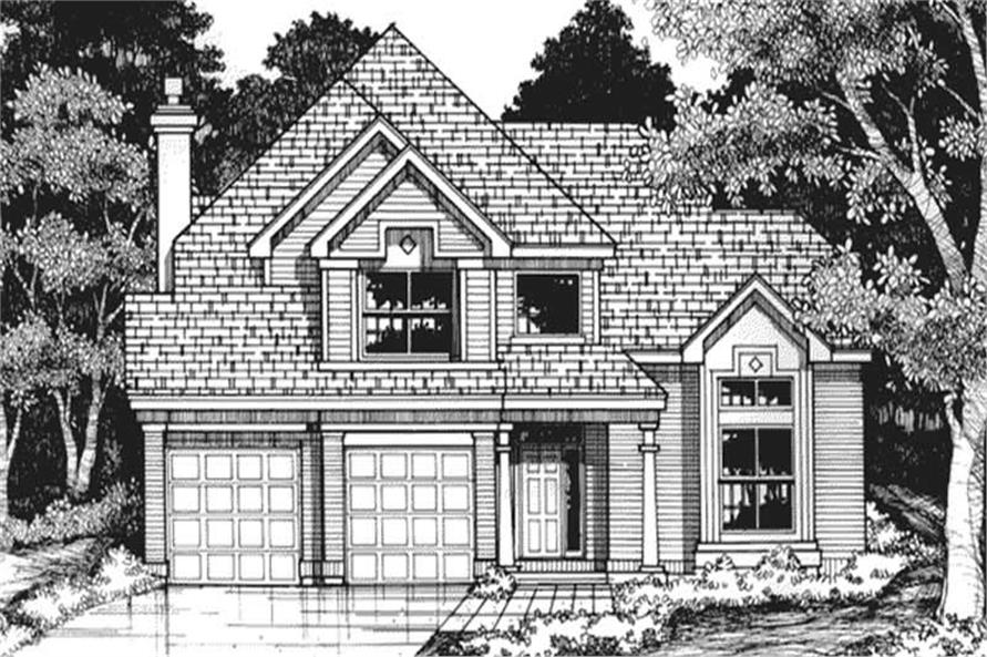This shows the front elevation of these Country Homeplans LS-B-93038.