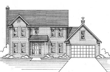 4-Bedroom, 2251 Sq Ft Colonial Home Plan - 146-1195 - Main Exterior