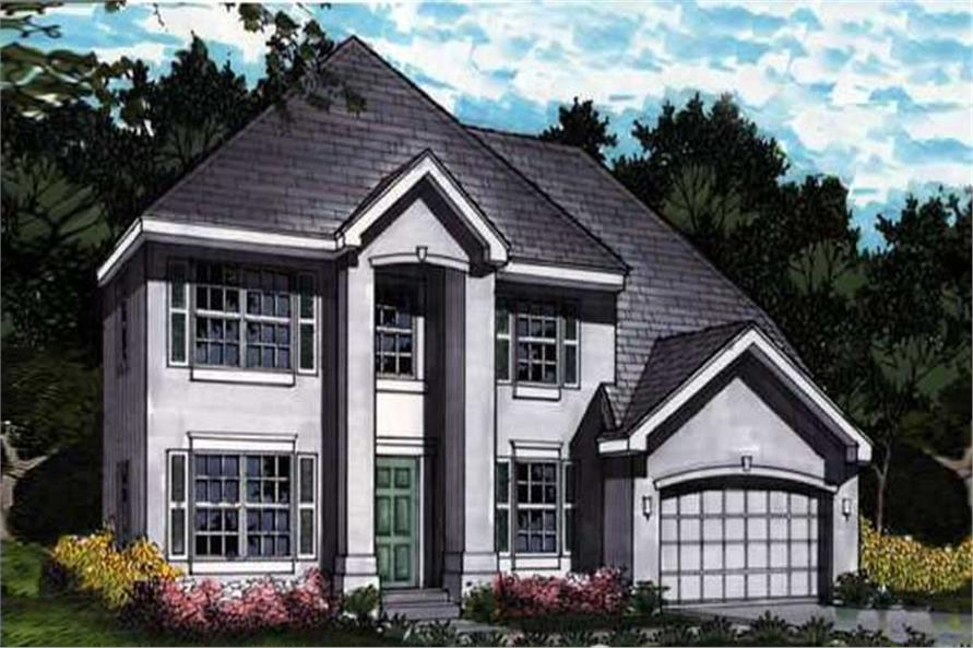 Colored Front Elevation for European Homeplans LS-B-91032.