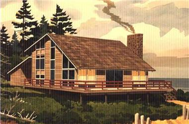 This is a colored rendering of Vacation House Plans LS-H-876-1A.