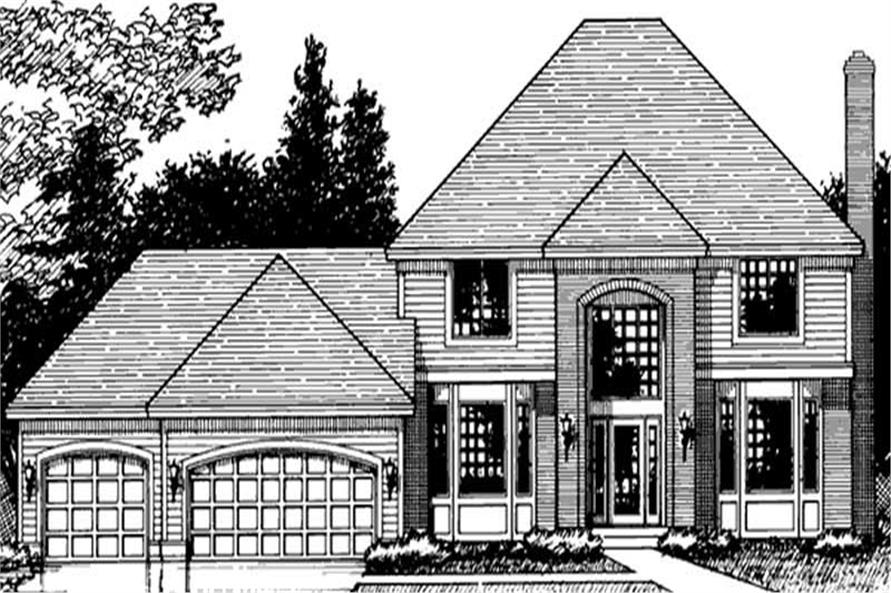 Home Plan Front Elevation of this 4-Bedroom,2618 Sq Ft Plan -146-1219