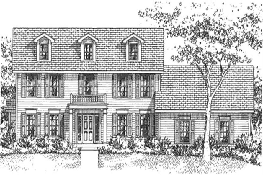 Home Plan Front Elevation of this 4-Bedroom,2508 Sq Ft Plan -146-1263