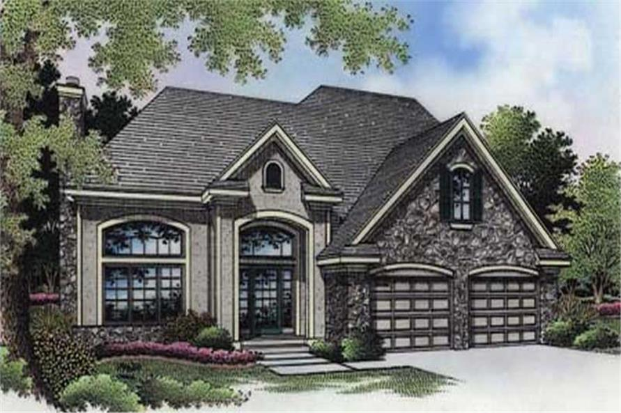This shows the front elevation of these European Home Plans LS-B-94023.