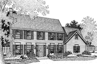3-Bedroom, 2409 Sq Ft Colonial Home Plan - 146-1286 - Main Exterior