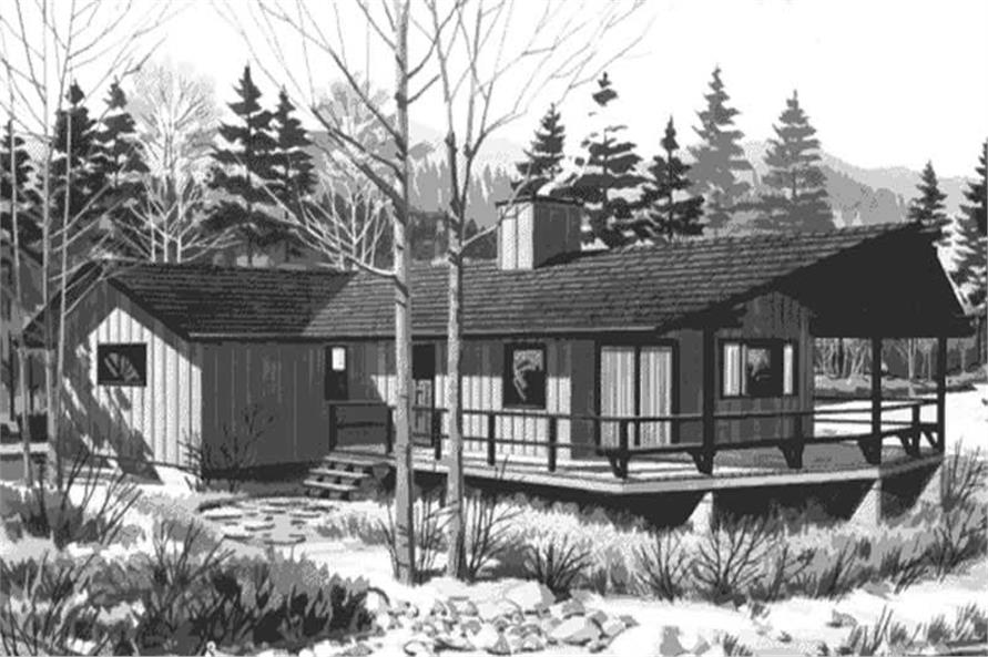1-Bedroom, 761 Sq Ft Log Cabin Home Plan - 146-1288 - Main Exterior