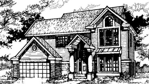 Front elevation of Country Houseplans.