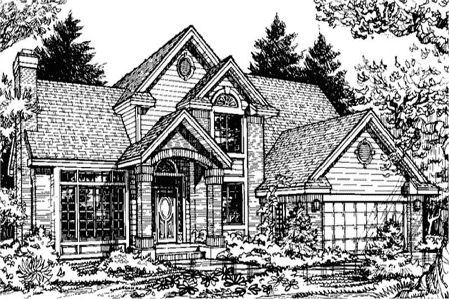 This image shows the front elevation of Country Home Plans LS-B-90009.