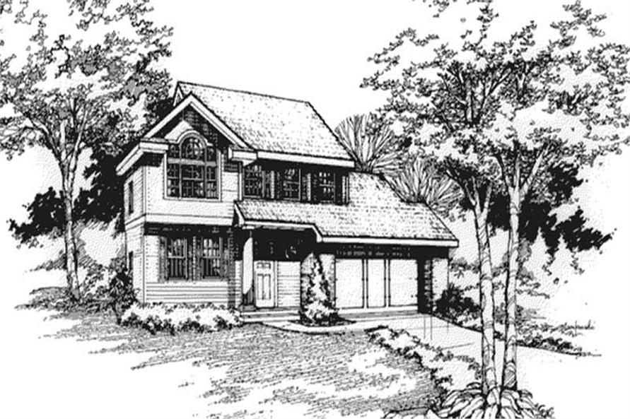 Country Houseplans LS-B-90019 front elevation.