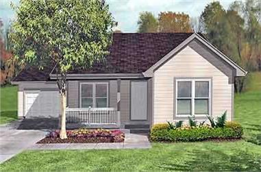3-Bedroom, 1069 Sq Ft Ranch House Plan - 146-1328 - Front Exterior