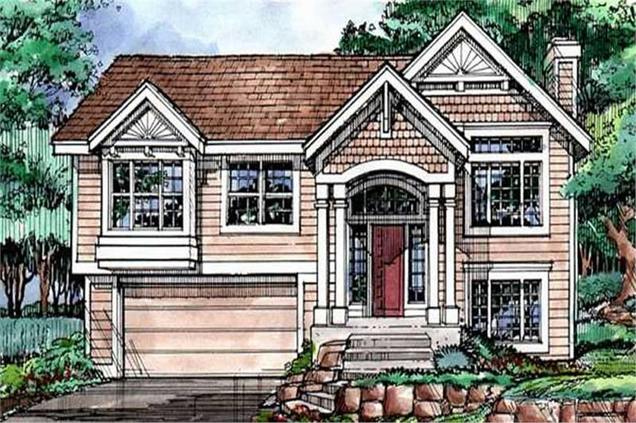 Colored front elevation for country homeplans LS-B-90012.