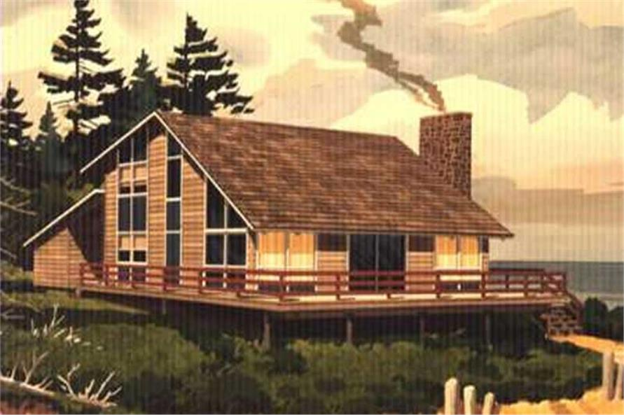 This is the front elevation of Vacation Homeplans LS-H-876-1.