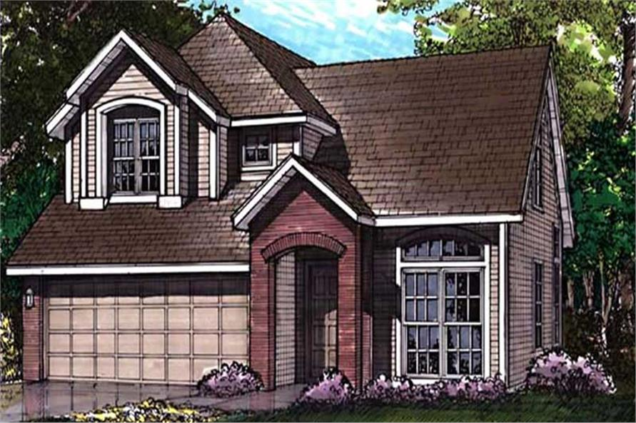 This colored rendering shows the front elevation of Country Homeplans LS-B-92027.