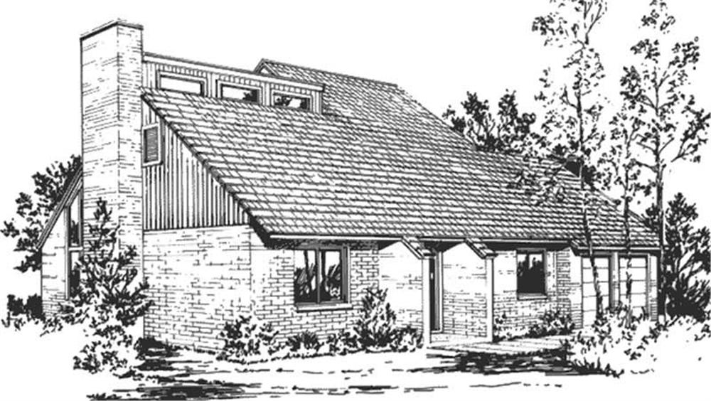 This image shows the front elevation of Passive Solar Homeplans LS-H-877-M5B