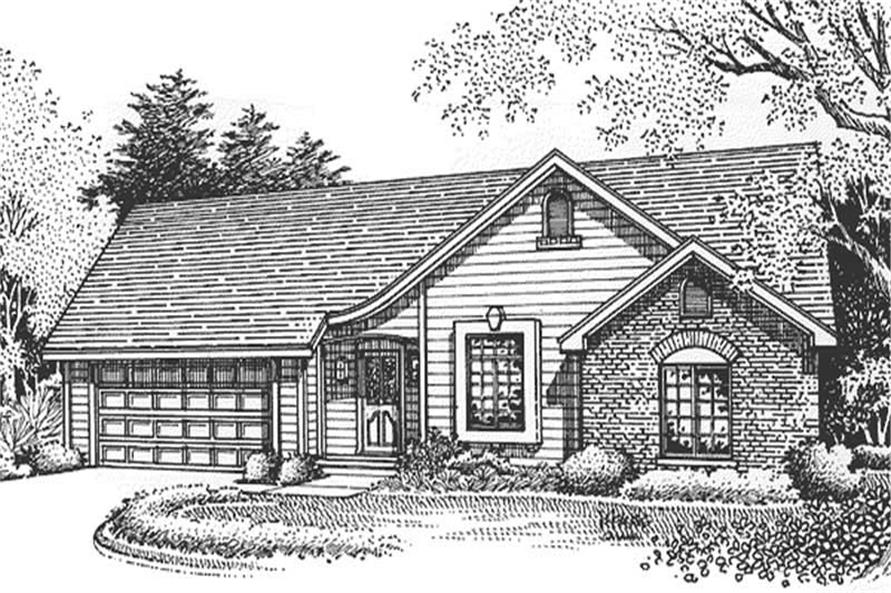 This image shows the front elevation of these Ranch Homeplans LS-B-95005.