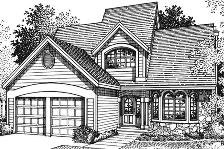 This image shows the front elevation of 1-1/2 Story Houseplans LS-B-95004.