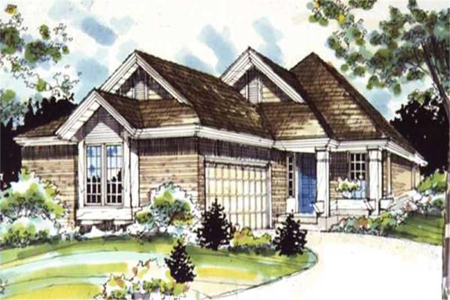 1-Bedroom, 1495 Sq Ft Country Home Plan - 146-1357 - Main Exterior
