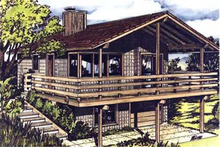 This is a colored elevation of Vacation Home Plans LS-H-806-M3.