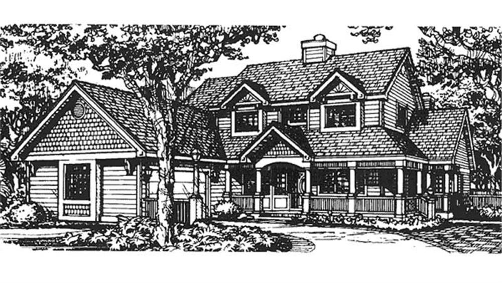 Front elevation of Country home (ThePlanCollection: House Plan #146-1368)