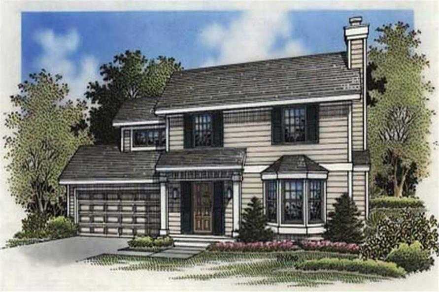 This colored rendering shows the front elevation of Country House Plans LS-B-94031.