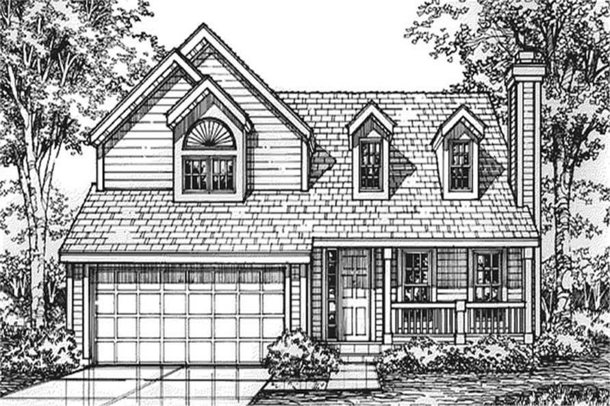 This image shows the front elevation of this set of Country Homeplans LS-B-92035.
