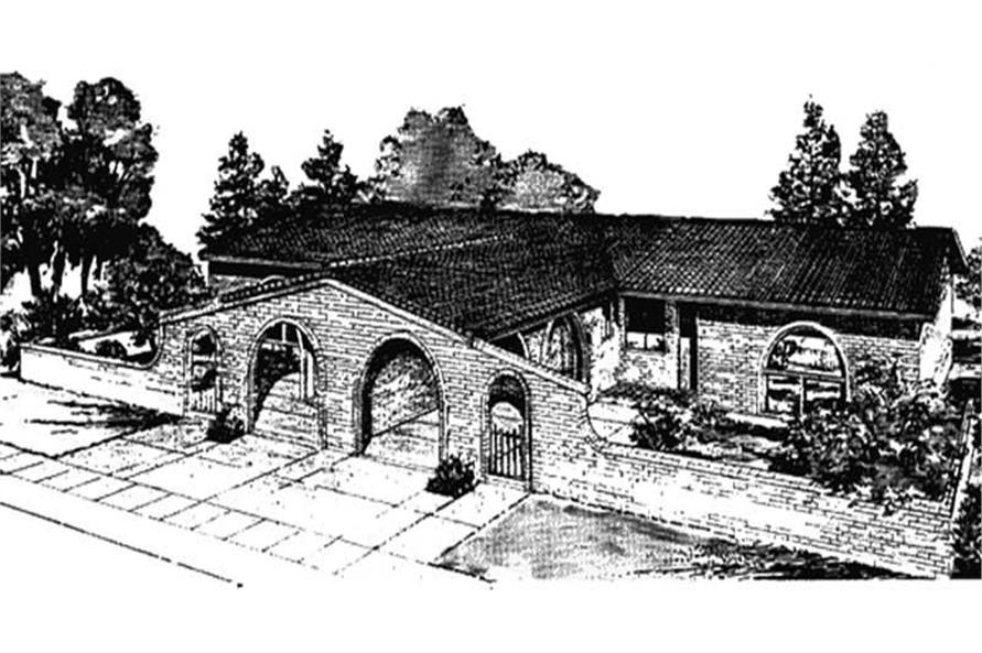 This image shows the Spanish Style of these Multi-Unit House Plans LS-H-599-M1A2.