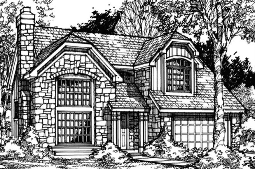 This image shows the Front elevation of these European Houseplans (LS-B-90017).
