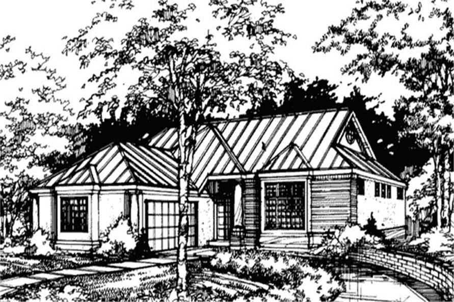 This image shows the front elevation of Country Houseplan LS-B-89066.