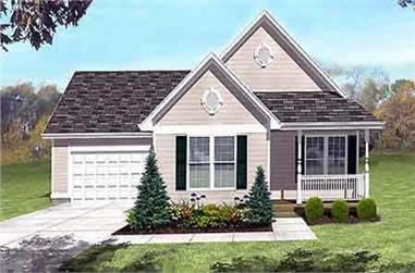 3-Bedroom, 1101 Sq Ft Country House Plan - 146-1385 - Front Exterior