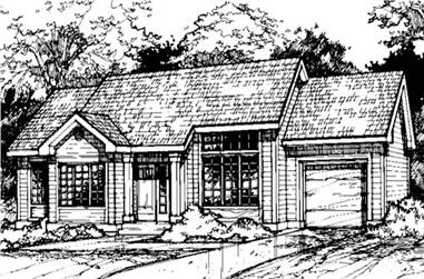 3-Bedroom, 1135 Sq Ft Country Home Plan - 146-1386 - Main Exterior
