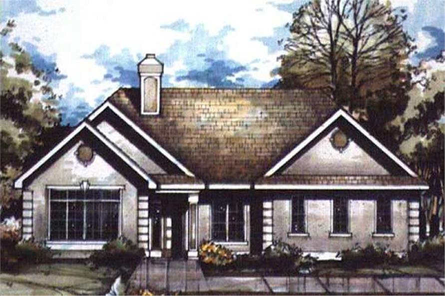 This image shows the Country/European/Ranch Style of this set of house plans.