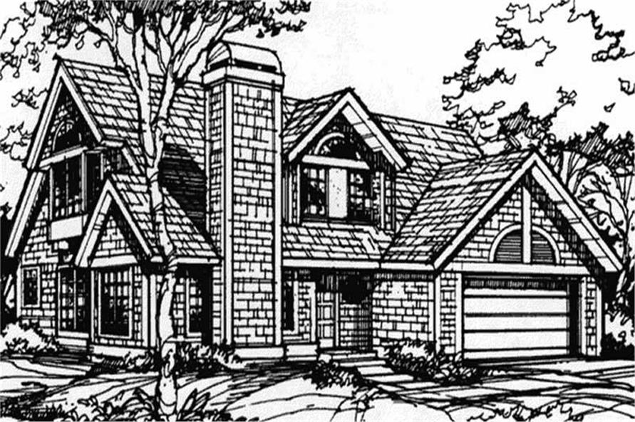 This image shows the 1-1/2 Story/Country/European Style of this set of house plans.
