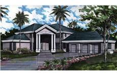 Colored Rendering for Mediterranean Home plans 146-1401