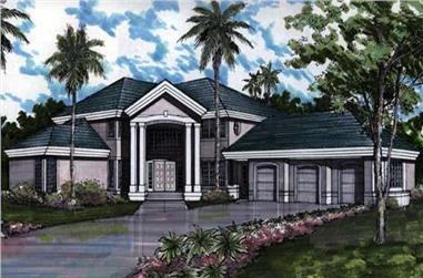 4-Bedroom, 4532 Sq Ft Mediterranean Home Plan - 146-1401 - Main Exterior