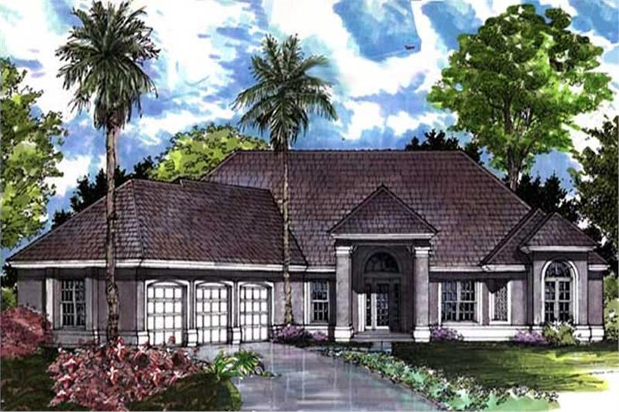 Colored Rendering for European Home Plans LS-B-91017.