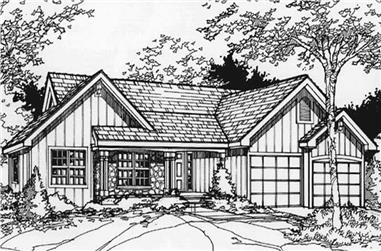 3-Bedroom, 1728 Sq Ft Country Home Plan - 146-1408 - Main Exterior