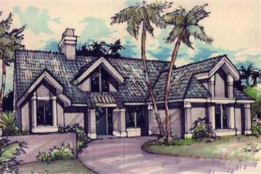 This image shows the Florida/Mediterranean Style of this set of house plans.