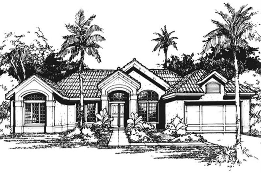 Front Elevation of Mediterranean Homeplans LS-B-90505.