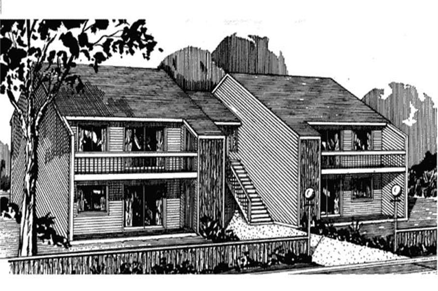Rendering of Multi-Unit home plan (ThePlanCollection: House Plan #146-1431)