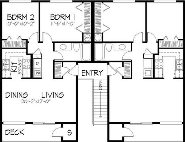 Multi unit house plans home design ls h 5941 a4 for 4 unit multi family house plans