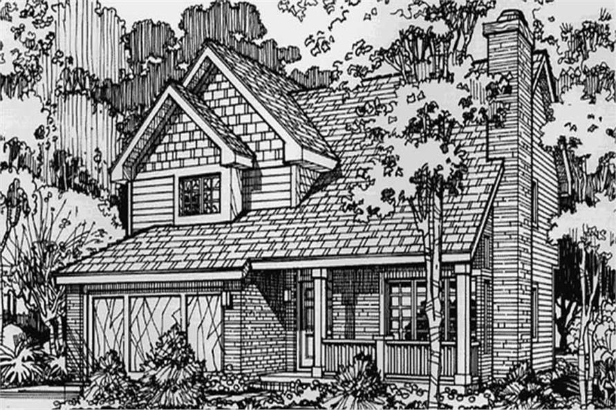 This image shows the Country/Traditional/Craftsman Style of this set of house plans.