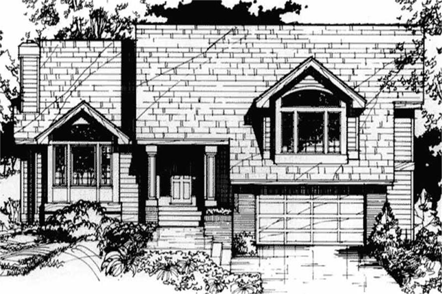 This image shows the Traditional/Country/Ranch Style of this set of house plans.