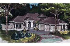 Luxury Houseplans LS-B-91008 colored front rendering.