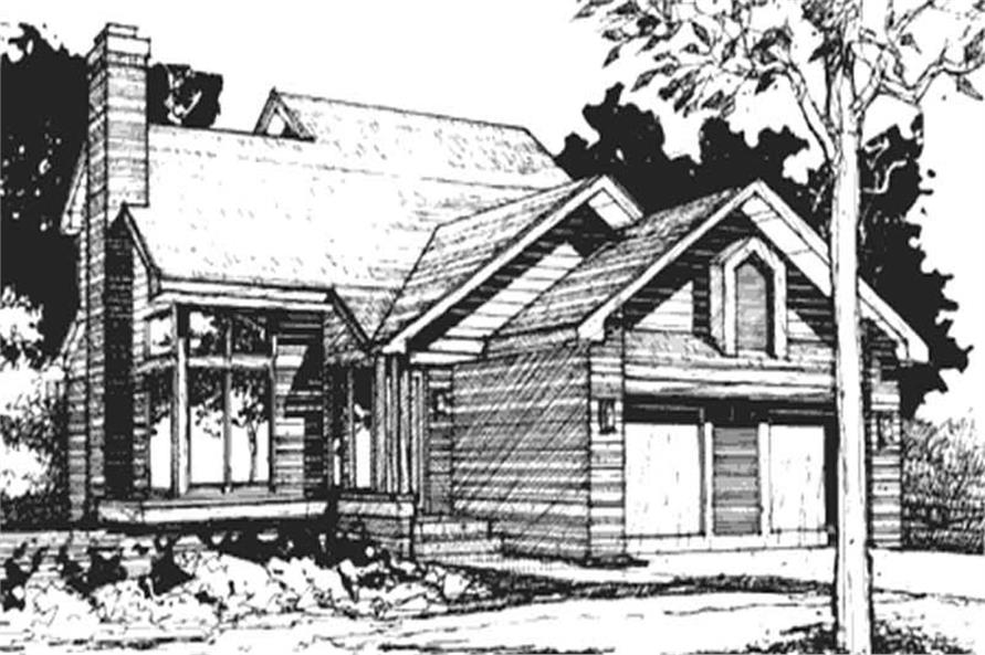 This image shows the 1-1/2 Story Ranch Style of this set of House Plans.