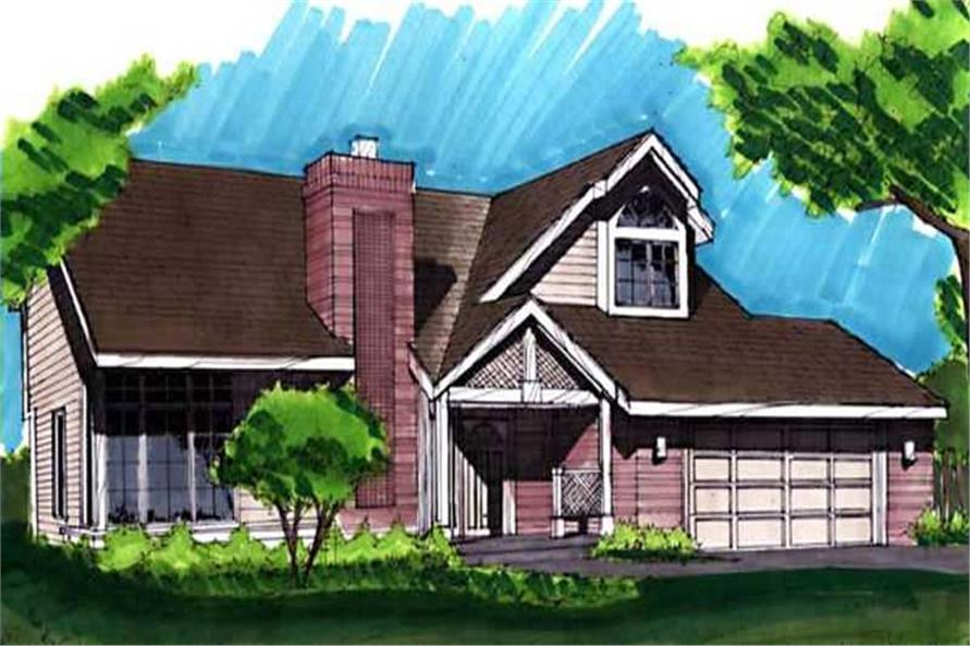 This image shows the Postmodern Style of this set of house plans.