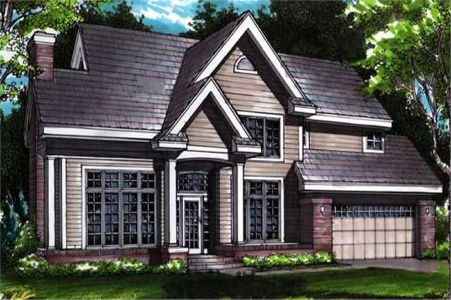 Country Houseplans LS-B-91033 colored front elevation.