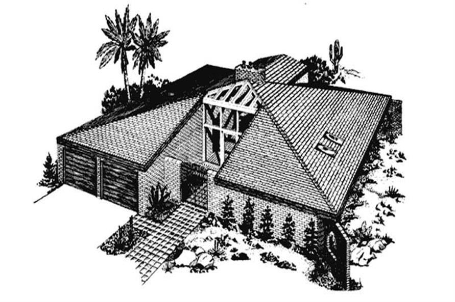 2-Bedroom, 1789 Sq Ft Southwest House Plan - 146-1477 - Front Exterior