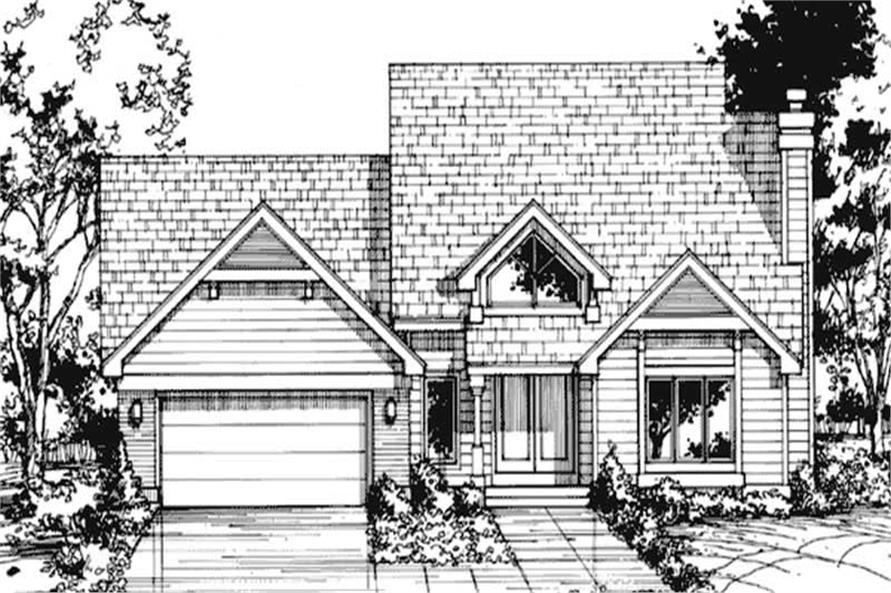 This image shows the front elevation of these Country House Plans, Traditional House Plans, 1-1/2 Story House Plans.