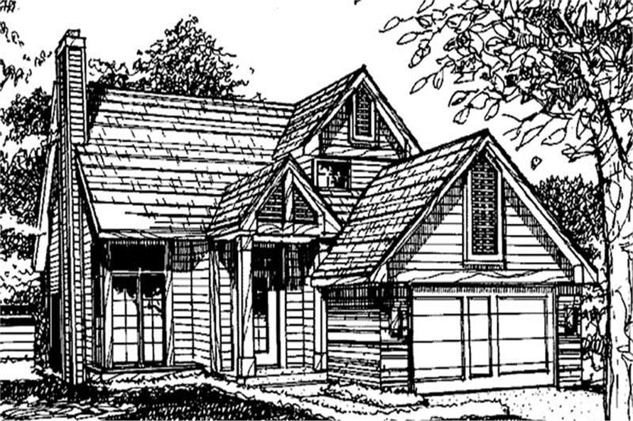This image shows the 1-1/2 Story/Ranch Style of this set of house plans.