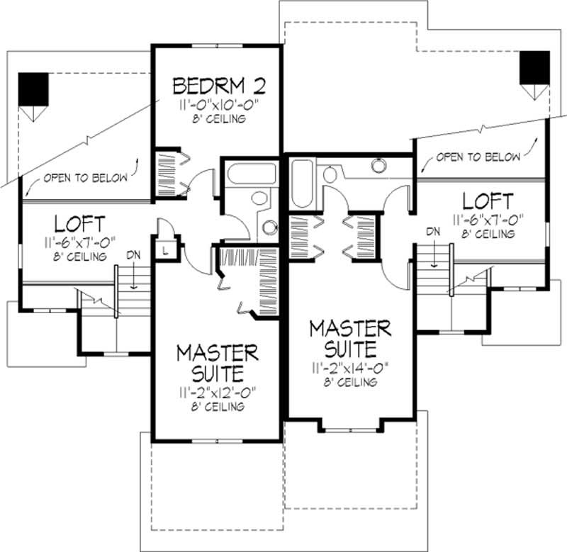 Multi unit house plans home design ls b 86135 21624 for Multi unit house plans