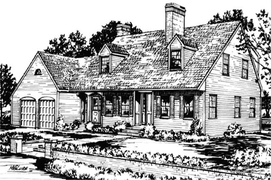 4-Bedroom, 2518 Sq Ft Cape Cod House Plan - 146-1506 - Front Exterior